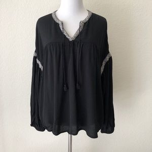 Madewell Blouson Sleeve Top Embroidered Black L